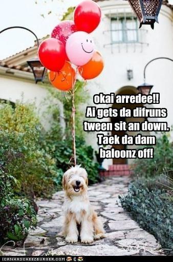 okai arredee!! Ai gets da difruns tween sit an down. Taek da dam baloonz off!