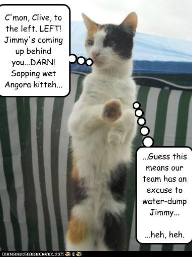C'mon, Clive, to the left. LEFT! Jimmy's coming up behind you...DARN! Sopping wet Angora kitteh... ...Guess this means our team has an excuse to water-dump Jimmy... ...heh, heh.