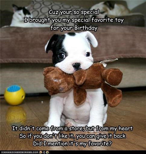 Cuz your so special I brought you my special favorite toy for your Birthday It didn't come from a store, but from my heart So if you don't like it, you can give it back Did I mention it's my favorite?