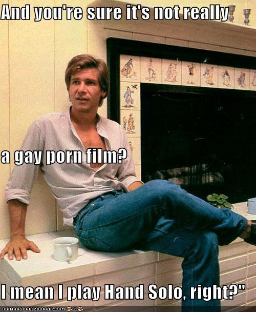 And you're sure it's not really a gay porn film? I mean I play Hand Solo, right?""