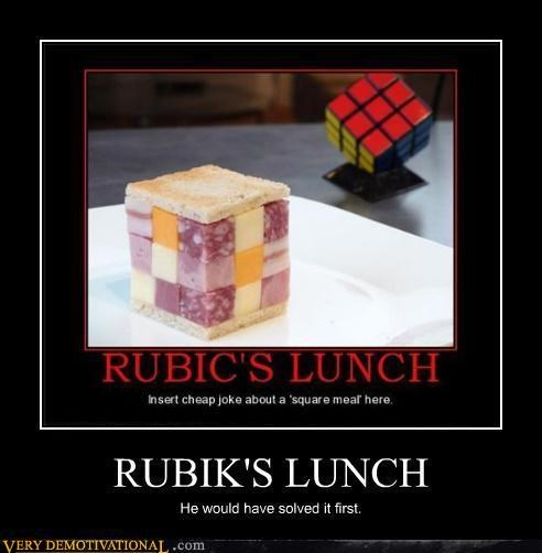 hilarious,lunch,puzzle,rubiks cube,solved