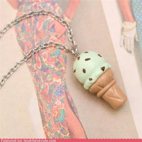 accessories chain ice cream cone Jewelry mint chocolate chip necklace pendant - 4882529280