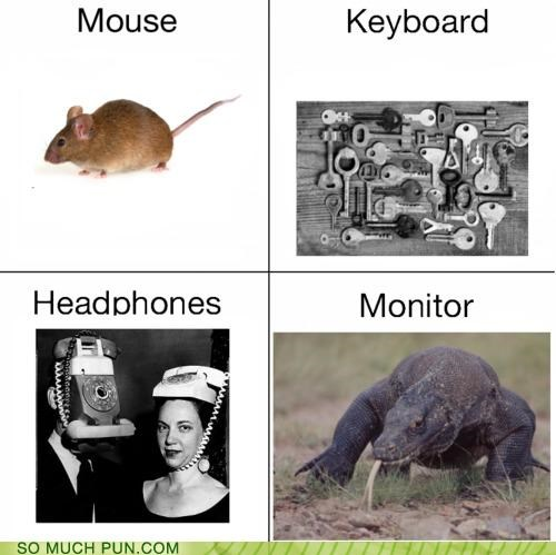 double meaning,headphones,items,keyboard,literalism,monitor,mouse