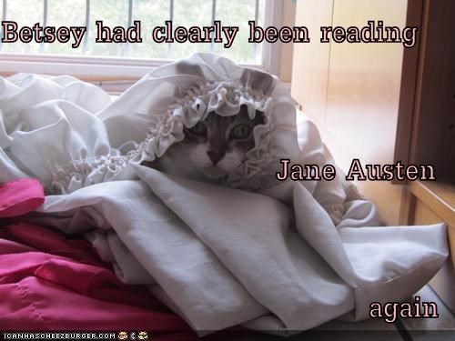 again caption captioned cat clearly doilies hiding jane austen reading sheets