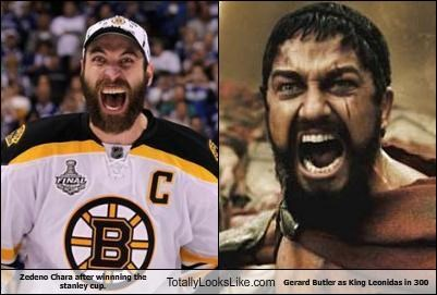 Zedeno Chara after winnning the stanley cup. Totally Looks Like Gerard Butler as King Leonidas in 300