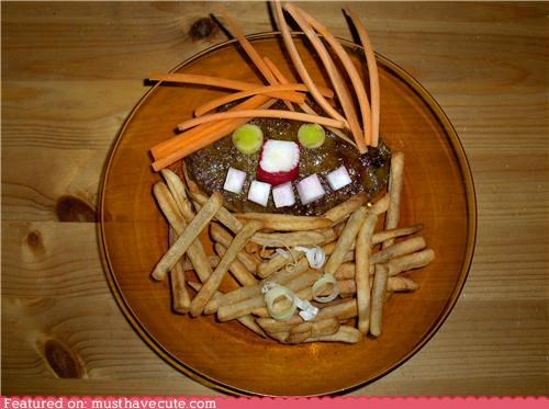 carrots,face,fries,hair,meal,meat,onions,radish,steak
