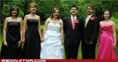 bride bridesmaids funny wedding photos groom Hall of Fame mustache - 4884520960
