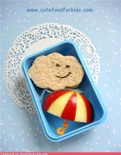 apple,bento,cloud,epicute,face,rain,sandwich,smile,umbrella