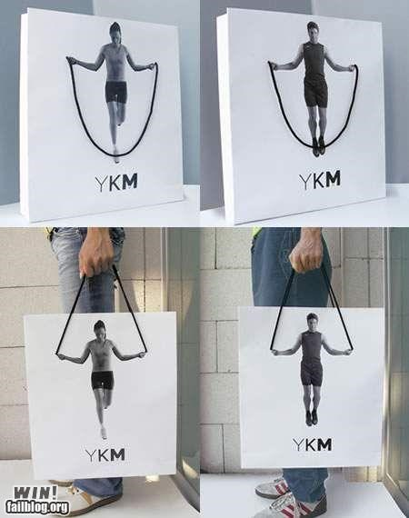 ads,clever,exercise,shopping bags