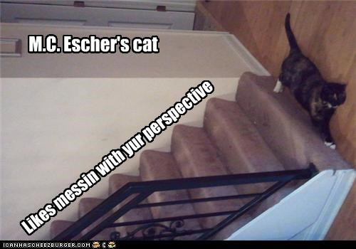 M.C. Escher's cat Likes messin with yur perspective