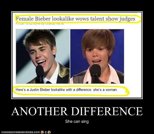 ANOTHER DIFFERENCE She can sing