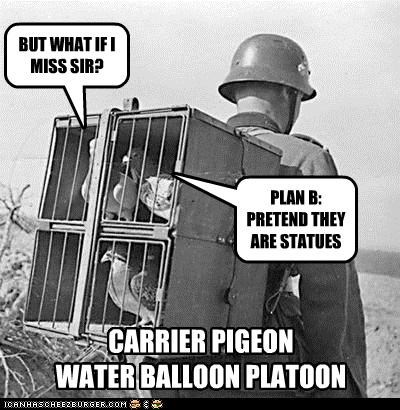 BUT WHAT IF I MISS SIR? PLAN B: PRETEND THEY ARE STATUES CARRIER PIGEON WATER BALLOON PLATOON