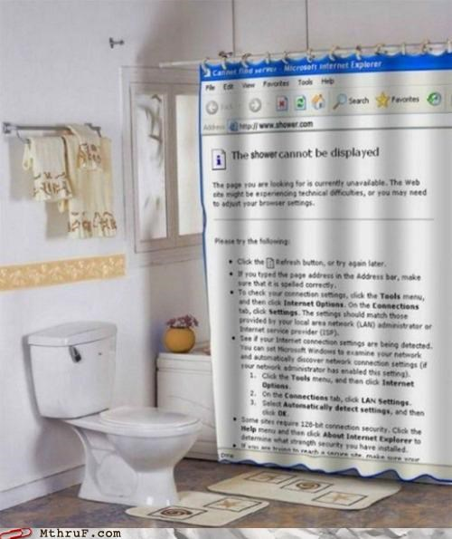 bathroom,browser,cannot find server,shower,shower curtain