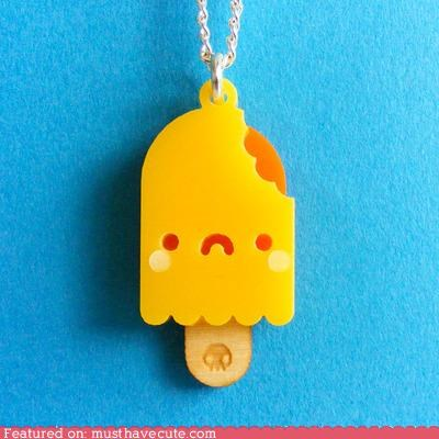Jewelry necklace orange popsicle sad face yellow - 4886457600