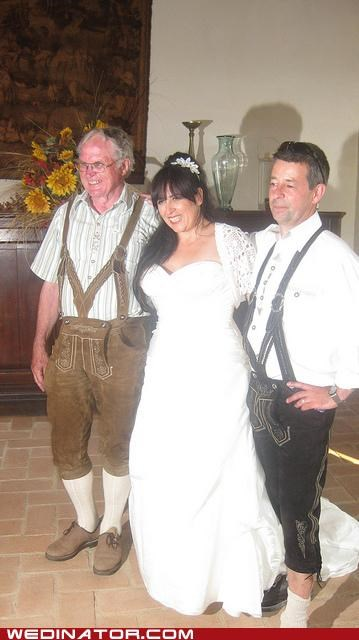 bride,funny wedding photos,Germany,lederhosen