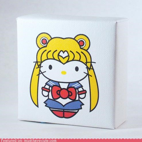 art canvas hello kitty print sailor moon - 4887285504