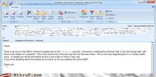 bathroom email feces nazi poop swastika - 4888123392