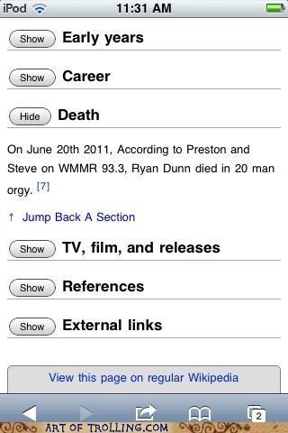 orgy rip Ryan Dunn wikipedia - 4888133888