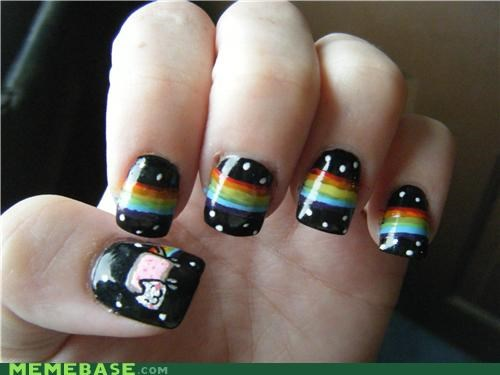 black,girls,IRL,nails,Nyan Cat,polish,rainbows