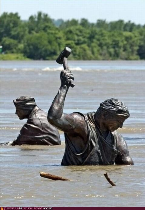 flood help statue water wtf