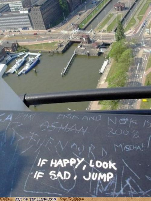 graffiti happy IRL jump Sad - 4888391936