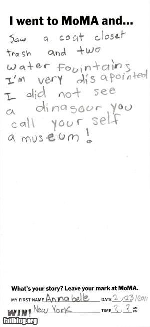 childrens-note,dinosaurs,museum,note,review