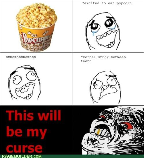 annoying,painful,Popcorn,Rage Comics,teeth