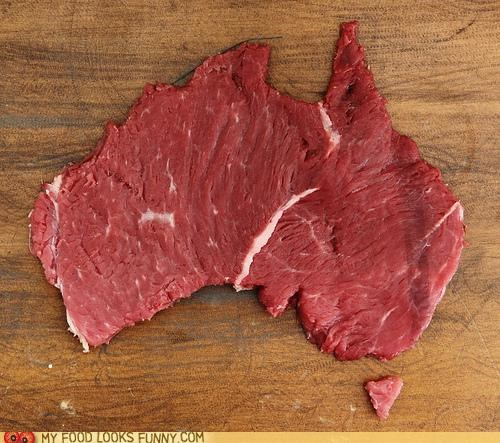 australia Beef continent map meat raw - 4889378560