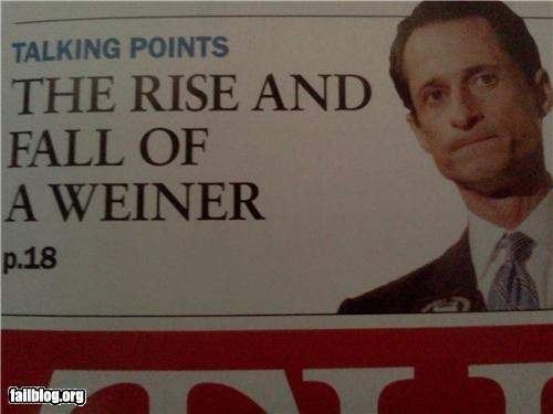 Anthony Weiner failboat innuendo p33n politics Probably bad News