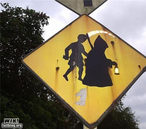 crossing,grim reaper,hacked irl,signs
