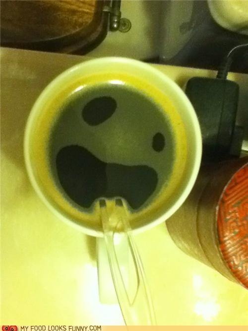 coffee,cup,face,foam,spoon