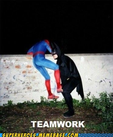 batman Random Heroics Spider-Man teamwork wall wtf - 4891288832