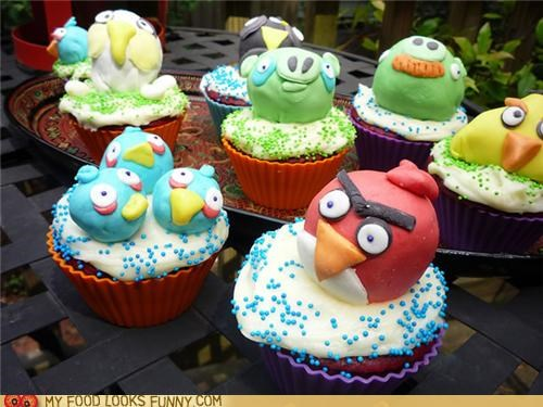 angry birds,cupcakes,fondant,lumpy,melting,summer