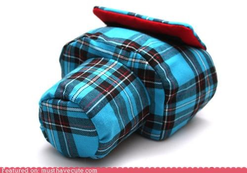camera cover fabric flannel plaid slr - 4892467200