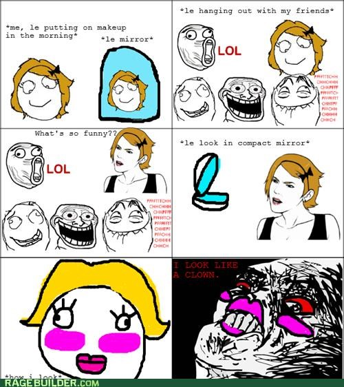 clown makeup mirror Rage Comics - 4892485376