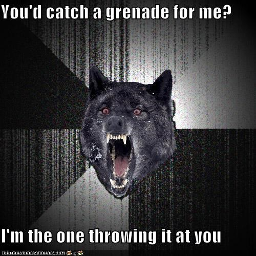 catch,grenade,Insanity Wolf,love,throw