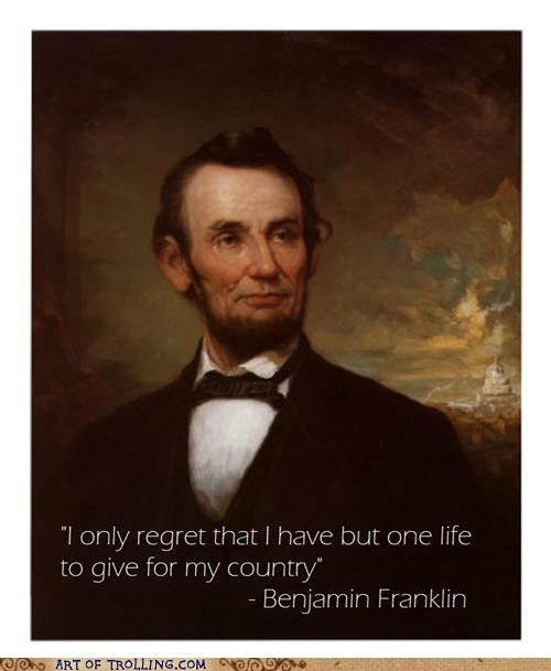 franklin,lincoln,misquotes,nathan hale