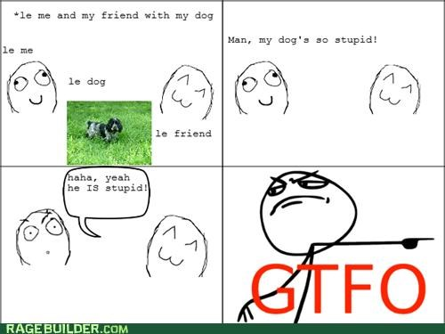 dogs,gtfo,insult,Rage Comics,stupid