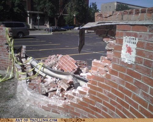 broken IRL kool-aid man smashed wall