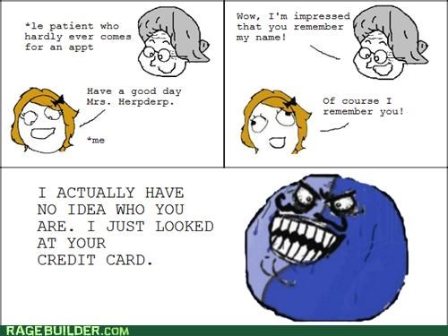 appointment,credit card,i lied,memory,names,patient,Rage Comics