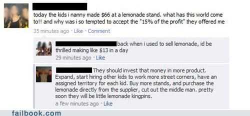 Economics,lemonade stand,money,witty reply