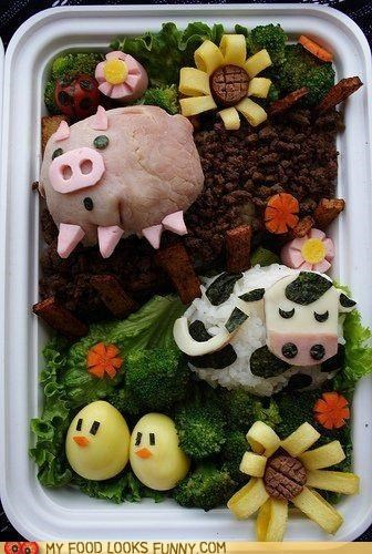 bento,chicks,cow,eggs,lunch,meal,meat,pig,veggies