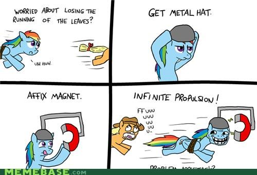 applejack,dash,leaves,metal hat,propulsion,rainbow,troll science