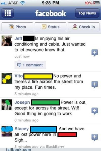 jerk,power outage,status updates