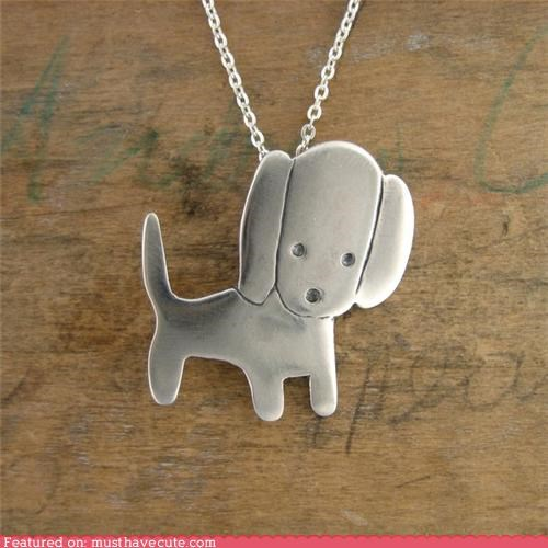accessories,chain,Jewelry,necklace,pendant,puppy,silver