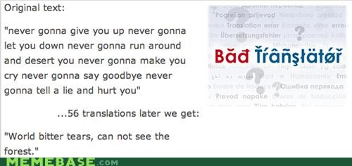 Bad Translator,never gonna give you up,rick roll,tears
