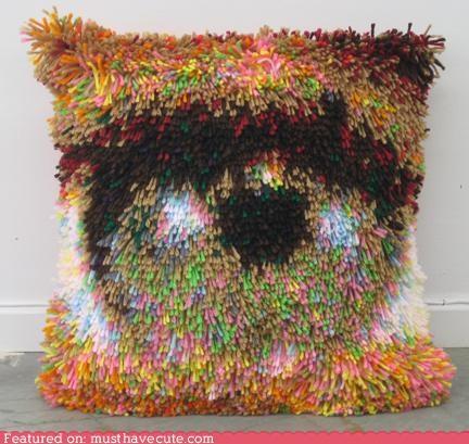 close up decor eye latch hook Pillow rug throw pillow - 4896313088