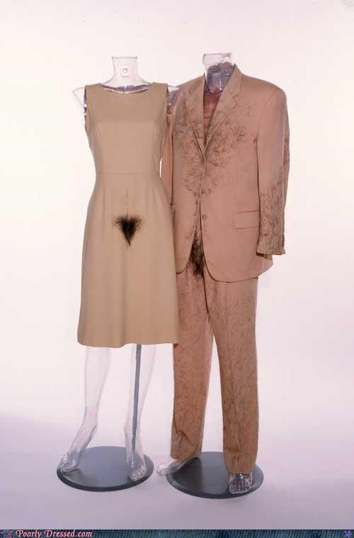 dress him and her matching pubic hair suit