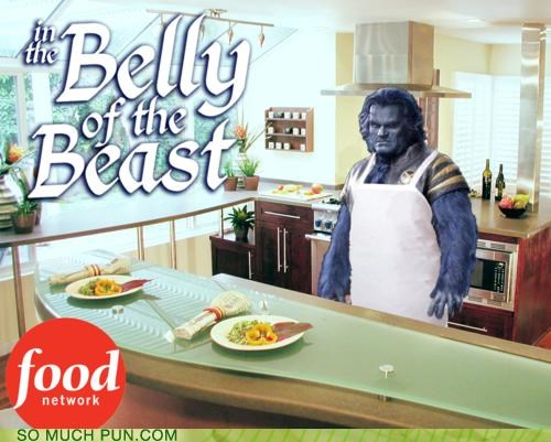 awesome,beast,belly,belly of the beast,cooking,double meaning,Food Network,literalism,lolwut,saying,show,television,TV,x men
