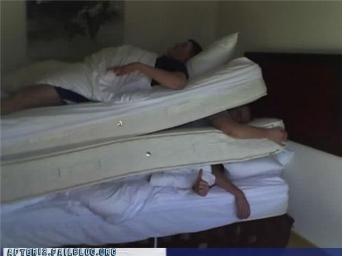 asleep mattress pile